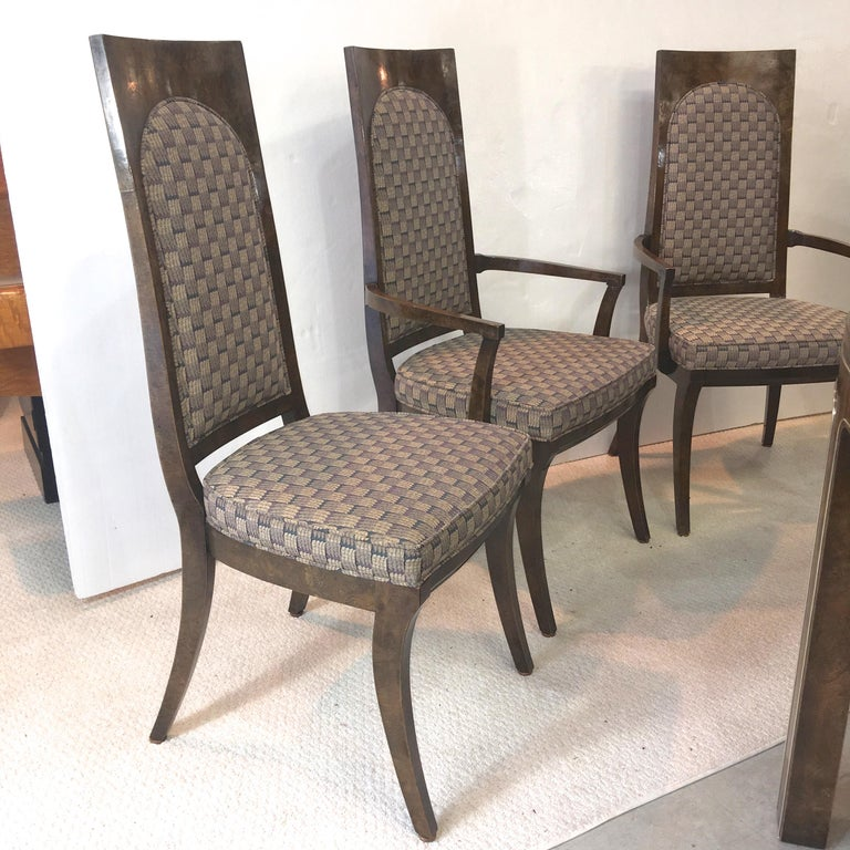Mastercraft Burl and Brass Extendable Dining Table and Six Chairs For Sale 2