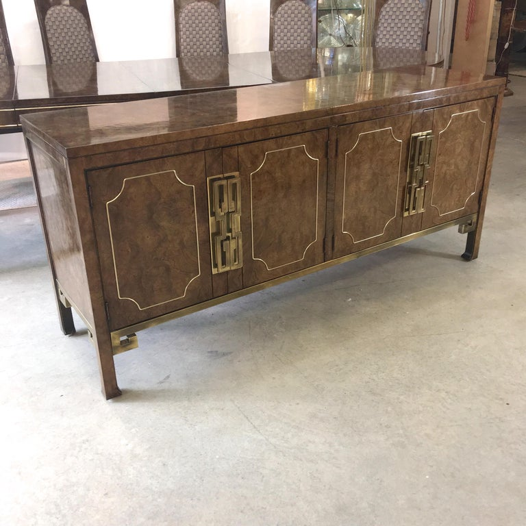 Mastercraft Burl and Brass Sideboard Buffet For Sale 3