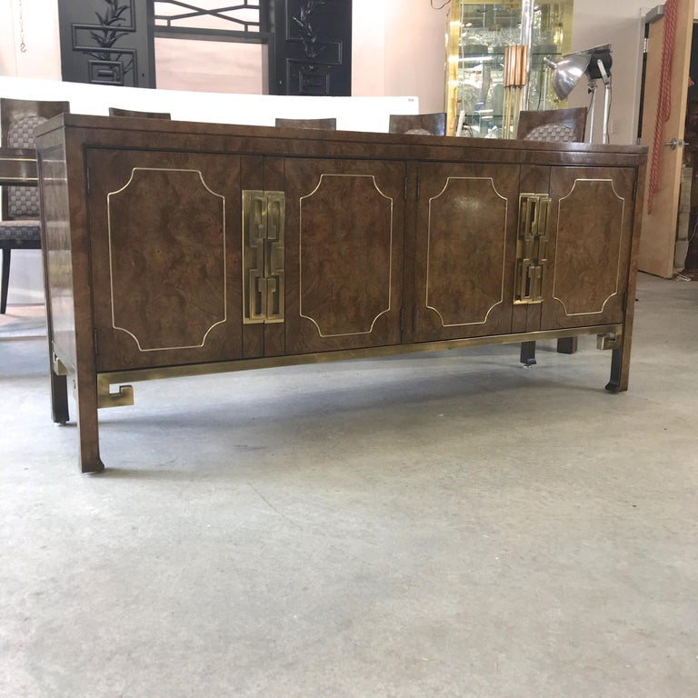 Mastercraft Burl and Brass Sideboard Buffet For Sale 4