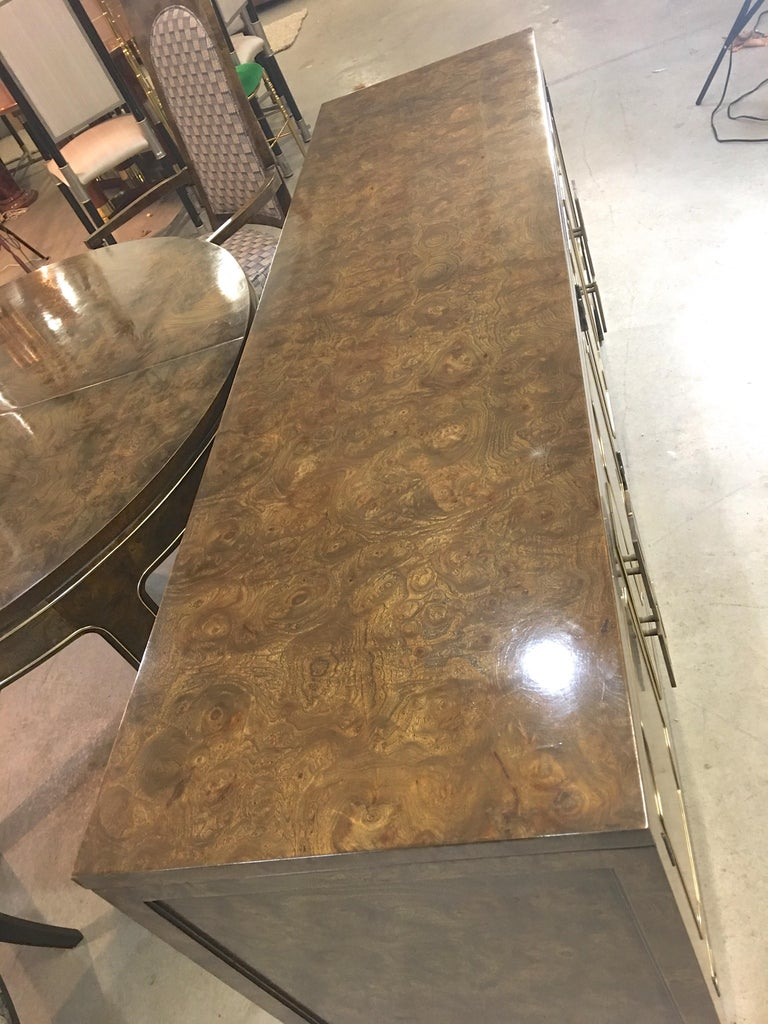 Mastercraft Burl and Brass Sideboard Buffet For Sale 5