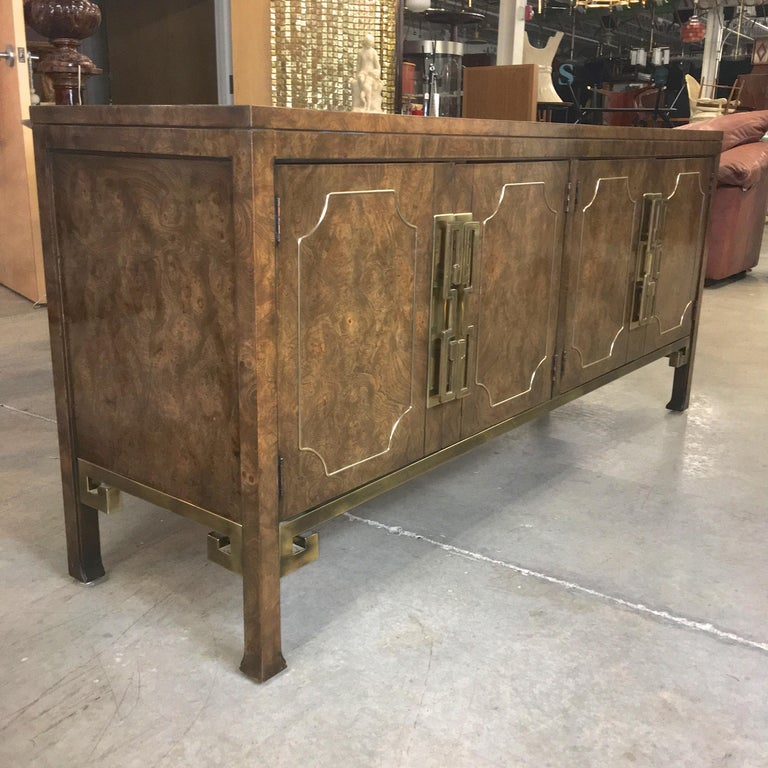 Mastercraft Burl and Brass Sideboard Buffet For Sale 7