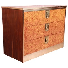 Mastercraft Burl, Rosewood, and Brass Chest of Drawers, circa 1970s