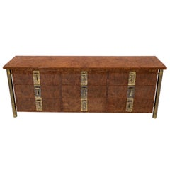 Mastercraft Burl Wood and Brass Hardware Long 9 Drawers Credenza Dresser