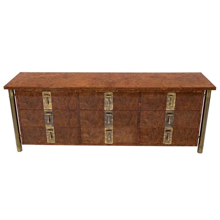 Mastercraft Burl Wood and Brass Hardware Long 9 Drawers Credenza Dresser For Sale