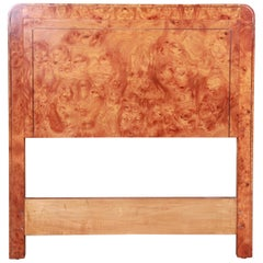 Mastercraft Burl Wood and Brass Twin Size Headboard, circa 1970s