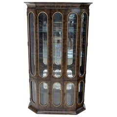 Mastercraft Burl Wood and Glass Curio Display Cabinet Vitrine Étagère Breakfront