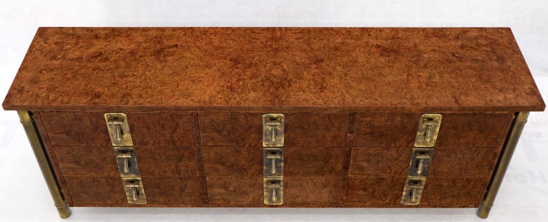 American Mastercraft Burl Wood and Brass Hardware Long 9 Drawers Credenza Dresser For Sale