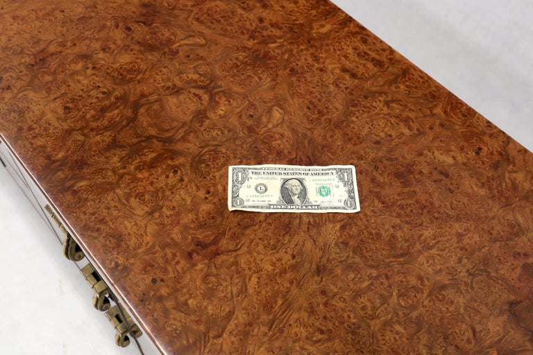 Mastercraft Burl Wood and Brass Hardware Long 9 Drawers Credenza Dresser For Sale 1