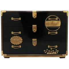 Mastercraft Campaign Style Lacquered Chest with Japanesque Brass Motif Accents