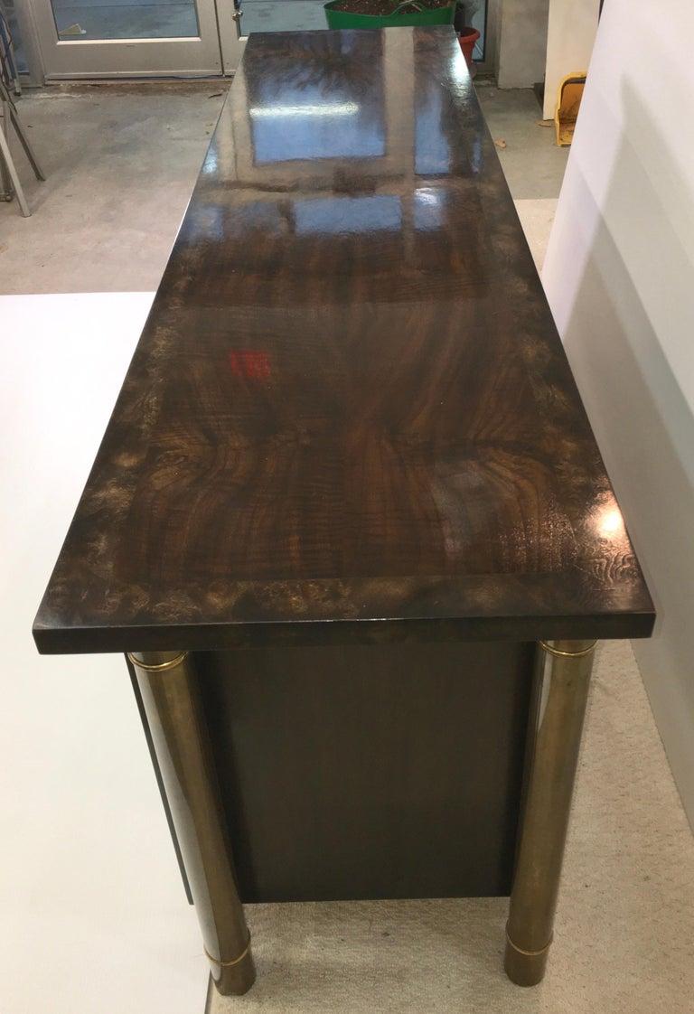 Mastercraft Carpathian Elm and Brass Sideboard For Sale 8