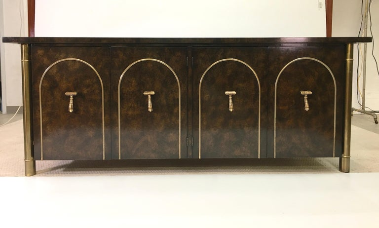 Mastercraft Carpathian Elm and Brass Sideboard For Sale 10