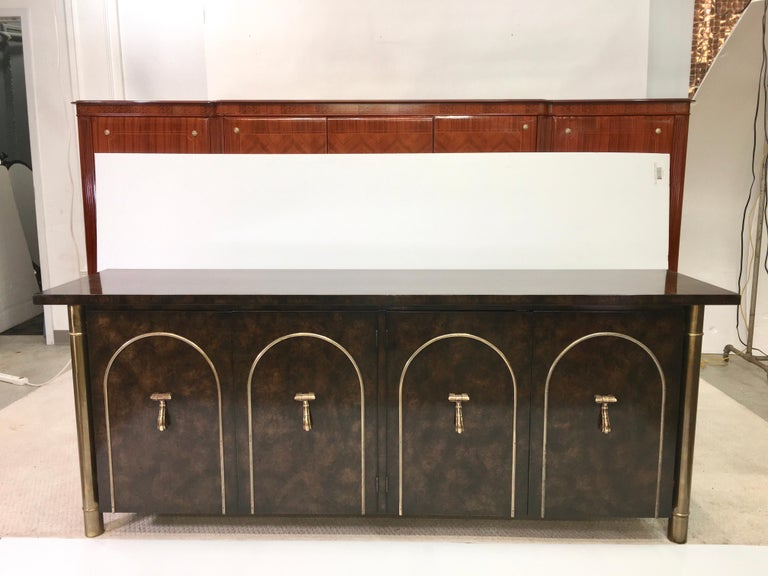 Hollywood Regency Mastercraft Carpathian Elm and Brass Sideboard For Sale