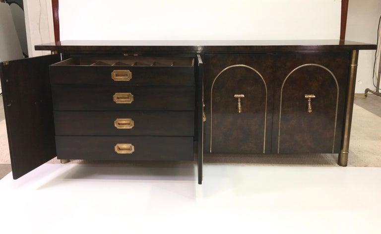 Mastercraft Carpathian Elm and Brass Sideboard For Sale 1