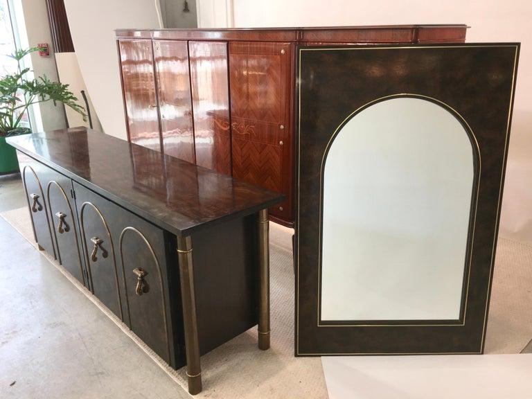 Mastercraft Carpathian Elm and Brass Sideboard For Sale 3