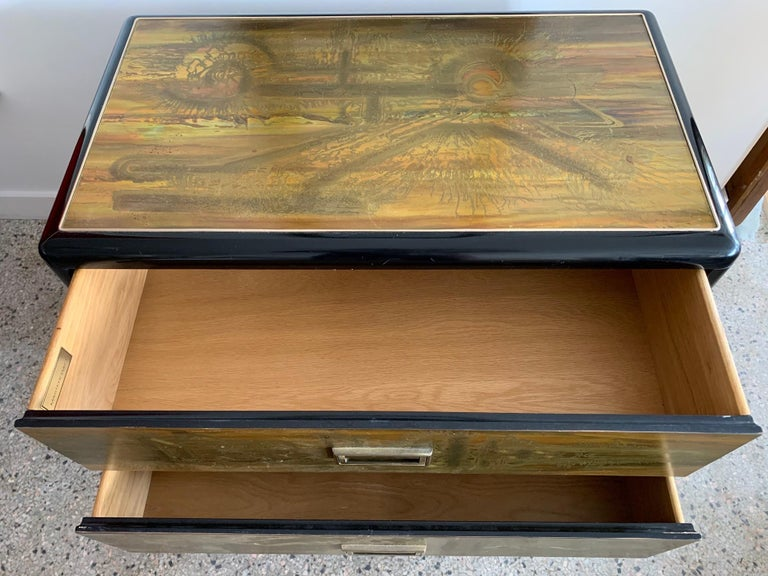 Mastercraft Chest and Matching Mirror by Berhardt Rohne For Sale 3