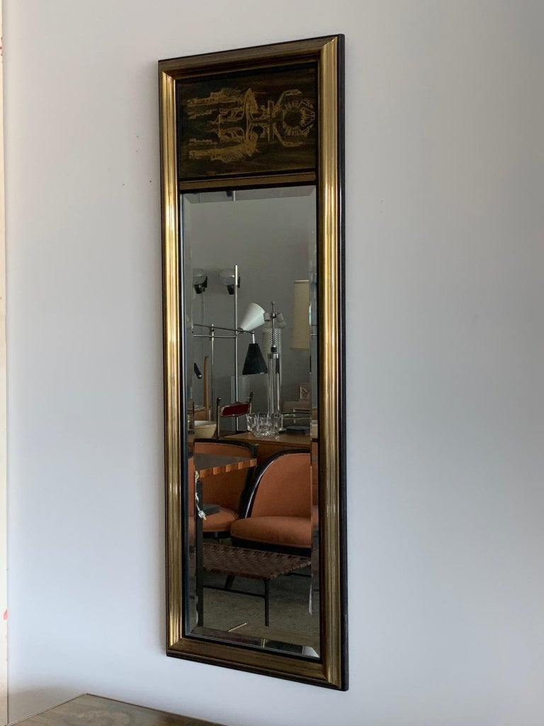 Mid-Century Modern Mastercraft Chest and Matching Mirror by Berhardt Rohne For Sale