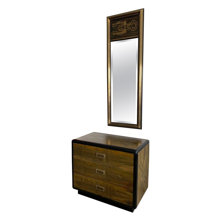 Mastercraft Chest and Matching Mirror by Berhardt Rohne For Sale
