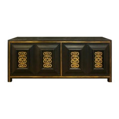 Mastercraft Chic Credenza in Dark Carpathian Elm and with Brass, 1960s