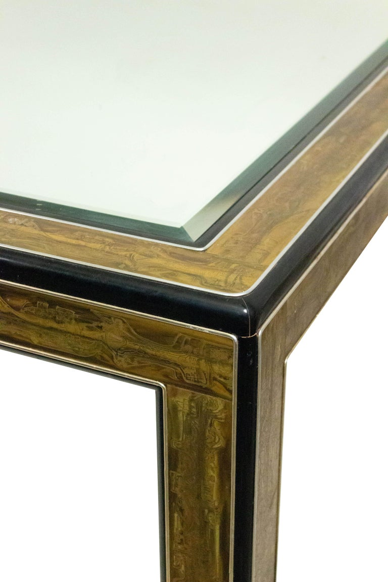 Glass Mastercraft Chinoiserie Dining Table with Mirrored Top For Sale