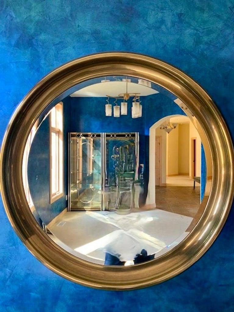 Hollywood Regency Mastercraft Circular Brass Mirror For Sale