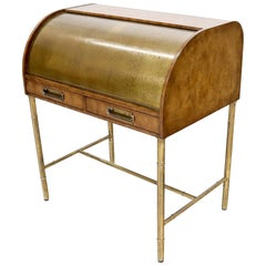 Mastercraft Compact Brass Cylinder Roll Top Desk Writing Table