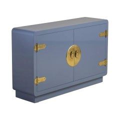Mastercraft Console Cabinet in Soft Blue Lacquer and Brass