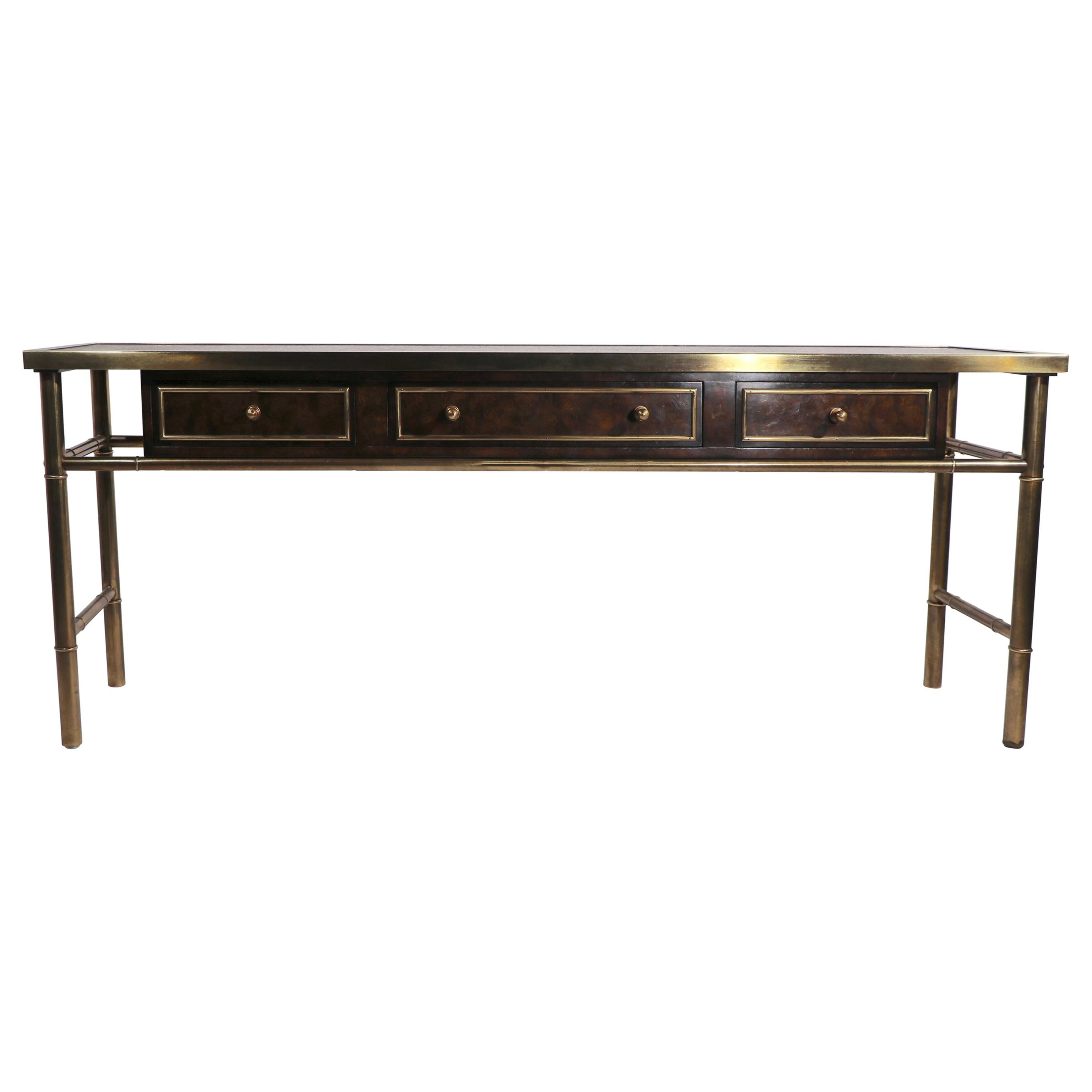 Mastercraft Console Sideboard Server in Brass and Wood