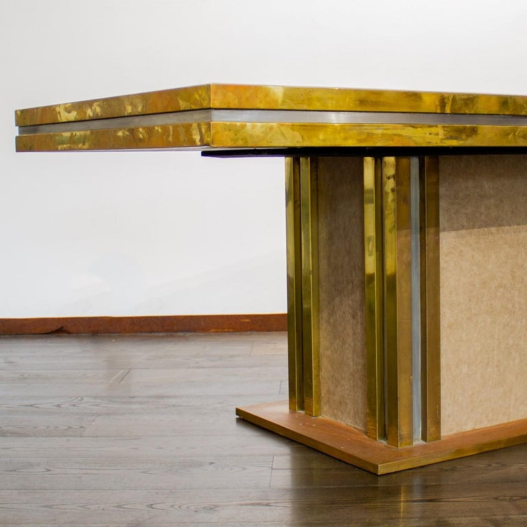 Mastercraft designed Leather and Brass Dining Table 1970s For Sale 5