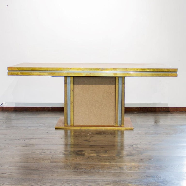 Mid-Century Modern Mastercraft designed Leather and Brass Dining Table 1970s For Sale
