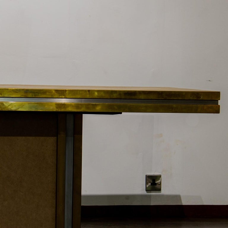 Late 20th Century Mastercraft designed Leather and Brass Dining Table 1970s For Sale