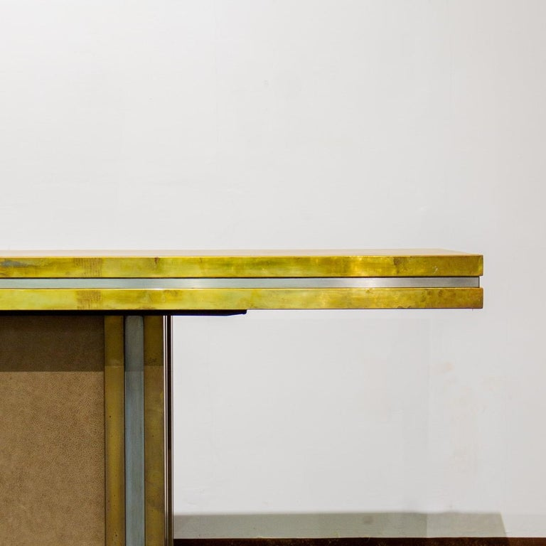 Mastercraft designed Leather and Brass Dining Table 1970s For Sale 1