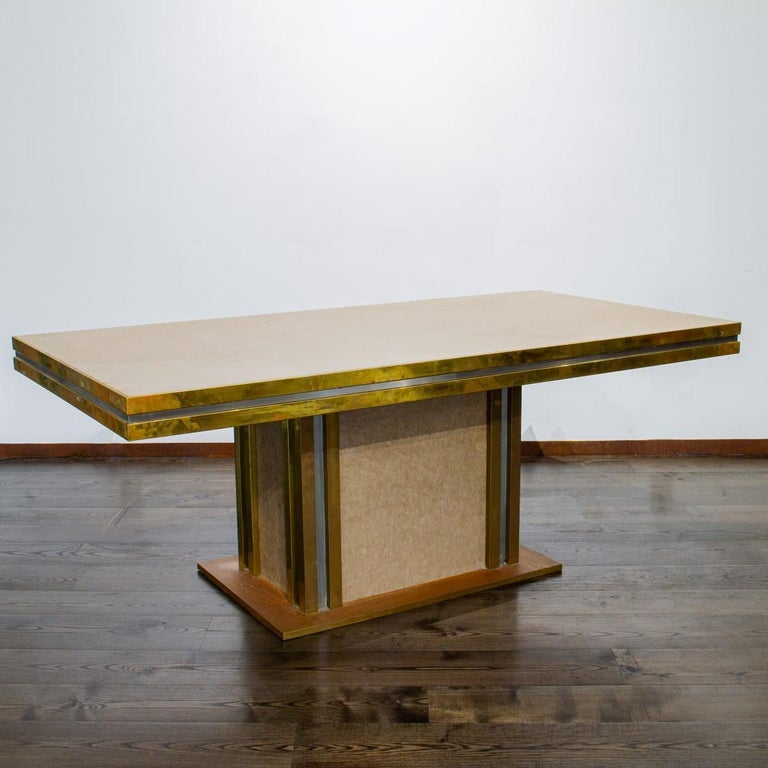 Mastercraft designed Leather and Brass Dining Table 1970s For Sale 2