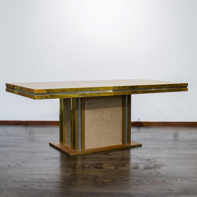Mastercraft designed Leather and Brass Dining Table 1970s For Sale 4