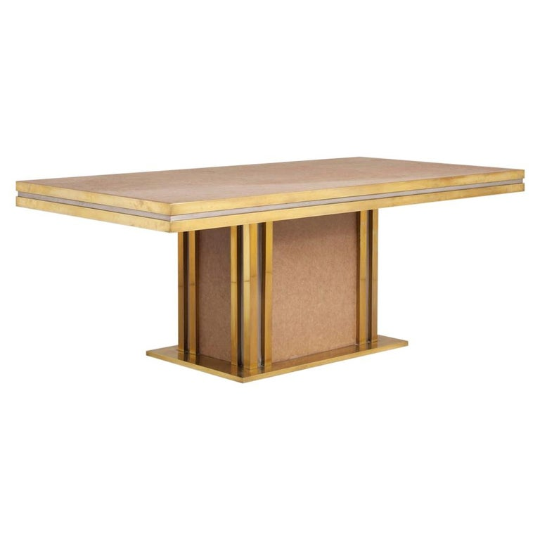 Mastercraft designed Leather and Brass Dining Table 1970s For Sale