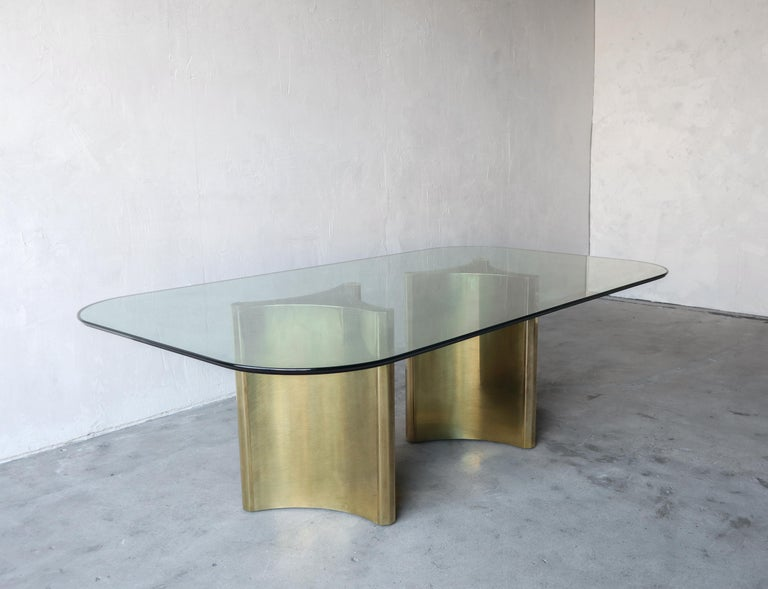 ** 2 Identical dining tables available, 4 bases, 2 pieces of glass.  Gorgeous example of the Mastercraft Double