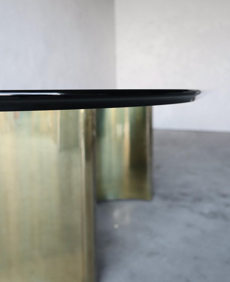 Mastercraft Double Trilobi Pedestal Brass and Glass Dining Table For Sale 2