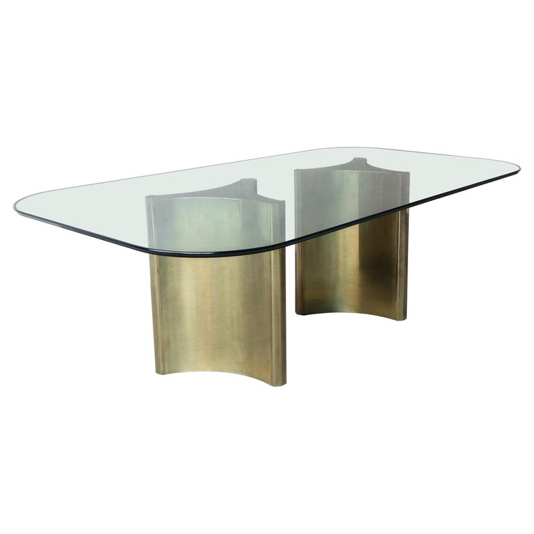Mastercraft Double Trilobi Pedestal Brass and Glass Dining Table For Sale