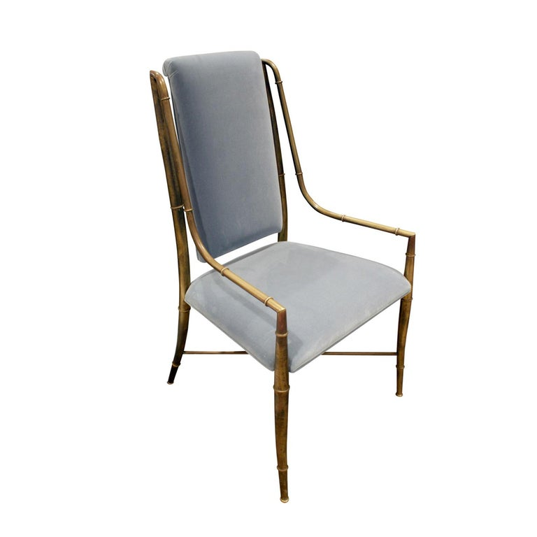Upholstered chair with frame in bronze with bamboo motif by Mastercraft, American, 1970s. Newly upholstered by Lobel Modern in blue velvet.
