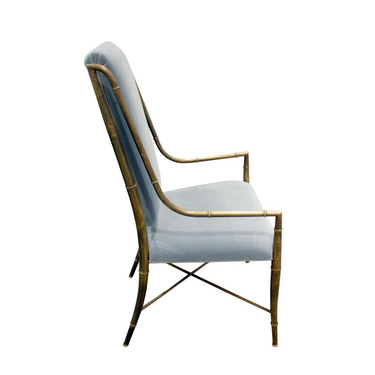 Mid-Century Modern Mastercraft Elegant Chair with Bronze Frame with Bamboo Motif 1970s For Sale
