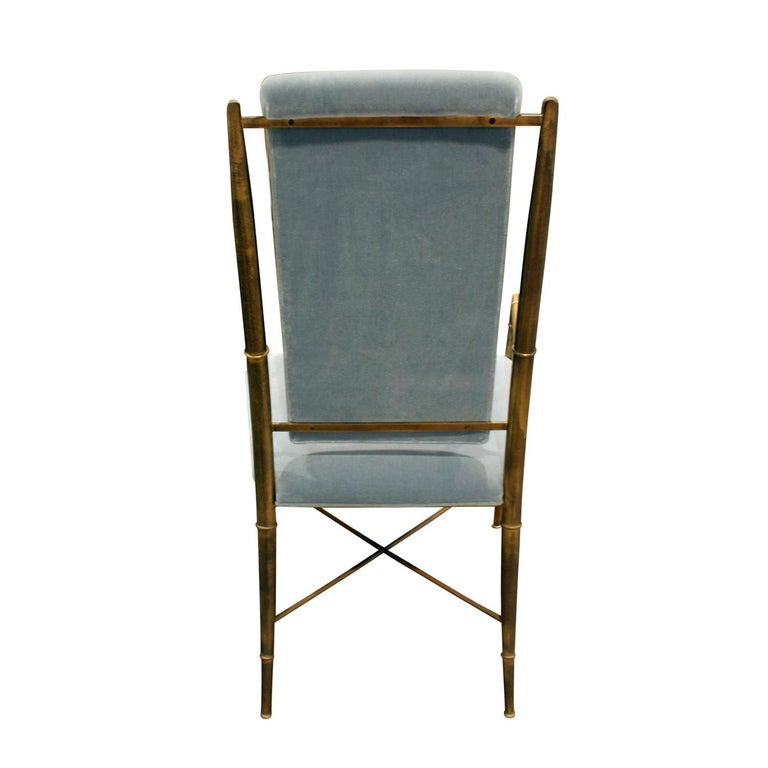 American Mastercraft Elegant Chair with Bronze Frame with Bamboo Motif 1970s For Sale