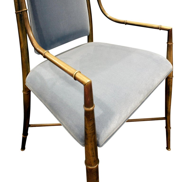 Hand-Crafted Mastercraft Elegant Chair with Bronze Frame with Bamboo Motif 1970s For Sale