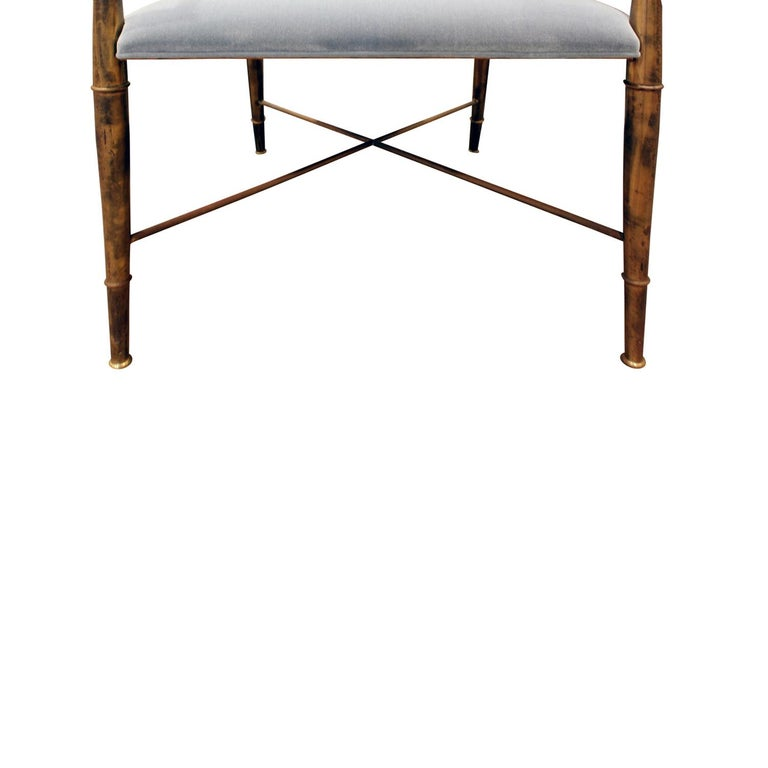 Mastercraft Elegant Chair with Bronze Frame with Bamboo Motif 1970s In Excellent Condition For Sale In New York, NY