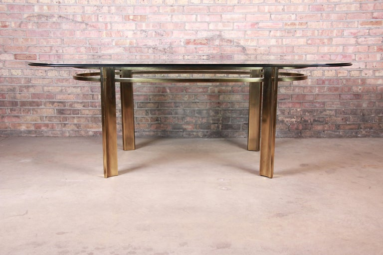 American Mastercraft for Baker Furniture Hollywood Regency Brass and Glass Dining Table For Sale