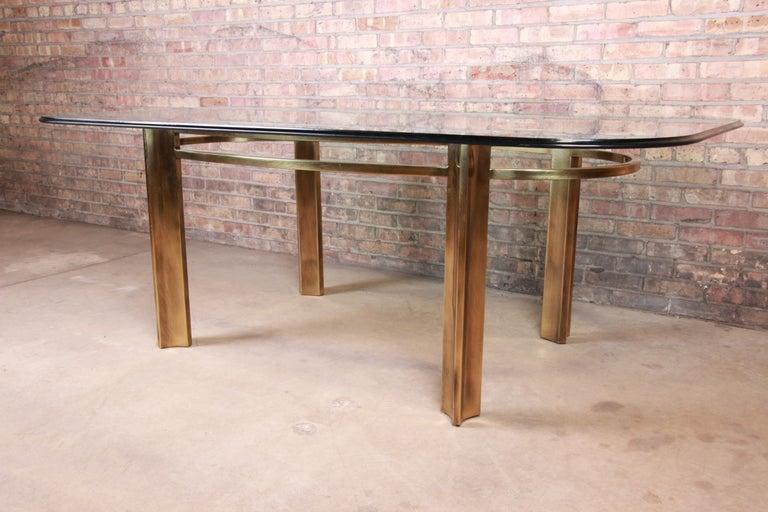 Beveled Mastercraft for Baker Furniture Hollywood Regency Brass and Glass Dining Table For Sale