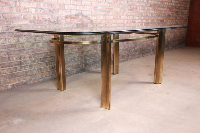 Mastercraft for Baker Furniture Hollywood Regency Brass and Glass Dining Table In Good Condition For Sale In South Bend, IN