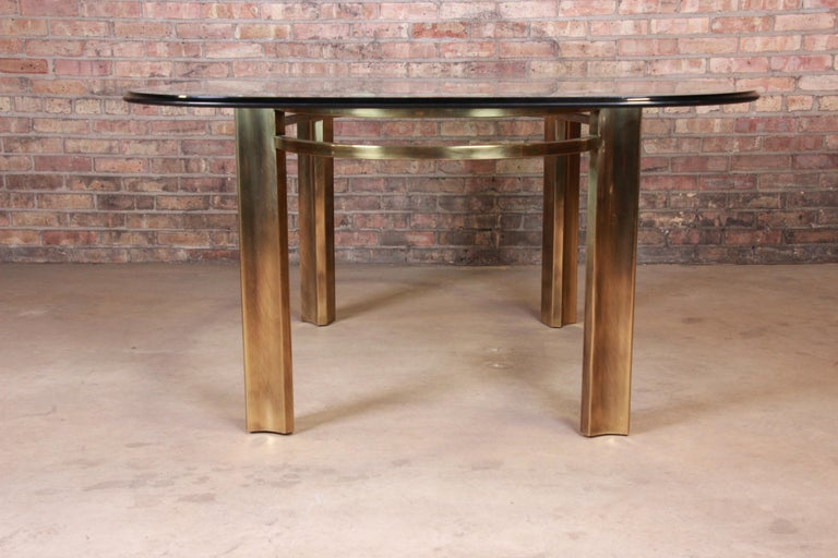 Mastercraft for Baker Furniture Hollywood Regency Brass and Glass Dining Table For Sale 1