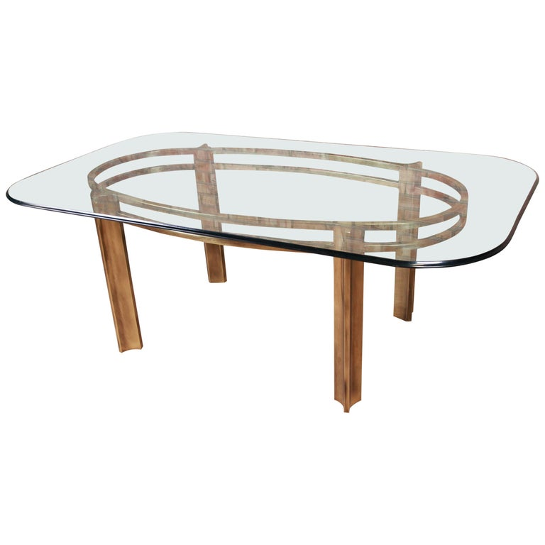 Mastercraft for Baker Furniture Hollywood Regency Brass and Glass Dining Table For Sale