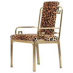 Mastercraft Greek Key Armchair in Leopard Velvet, circa 1970s