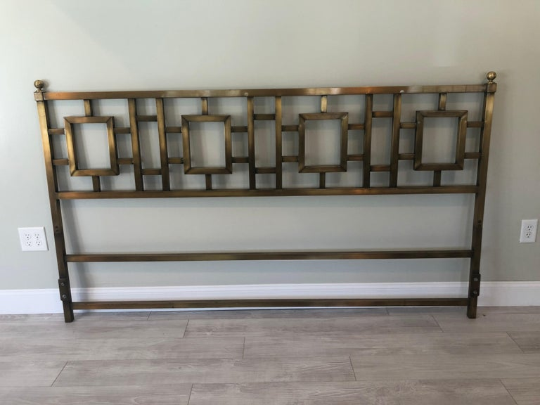 Mastercraft Greek key brass king size headboard. Heavy and sturdy but very elegant and sophisticated.
