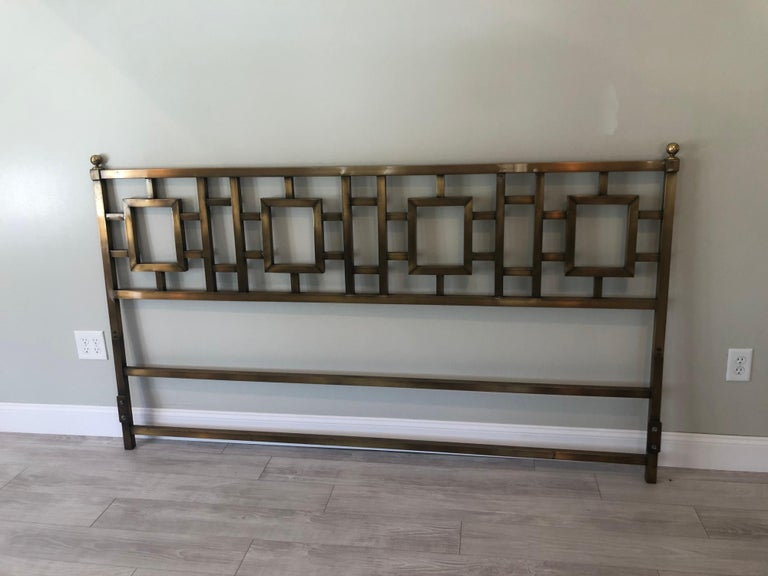 Mastercraft Greek Key Brass King Size Headboard In Good Condition For Sale In Redding, CT
